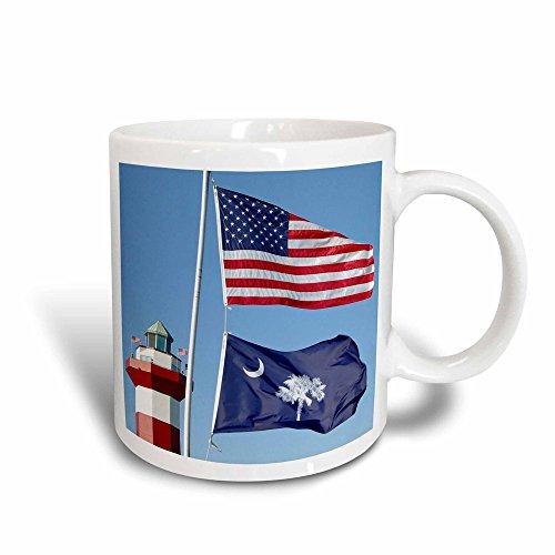 3dRose 94267_3 Harbor Town Lighthouse, Hilton Head, South Carolinla Lynn Seldon Magic Transforming Mug, 11 oz, Black/White