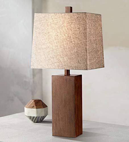 (Darryl Modern Table Lamp Rectangular Block Wood Textured Tan Fabric Shade for Living Room Family Bedroom Bedside Office - 360 Lighting)