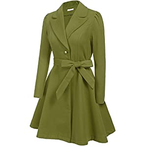ELESOL Women's Classic Slim Fit Turn-Down Collar Wool Pea Coat with Belt Plus Size Green/L
