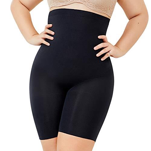 DELIMIRA Women's Plus Size High Waist Control Panties Shapewear Thigh Slimmer Black XL (16-18) (High Waist Slimmer Panty)