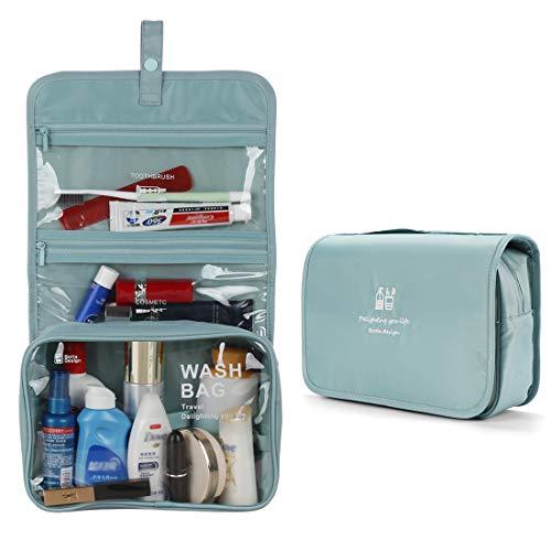 Hanging Toiletry Bag Portable Travel Toiletries Organizer Waterproof Multifunction Cosmetic Makeup Bag for Men Women Blue Gray