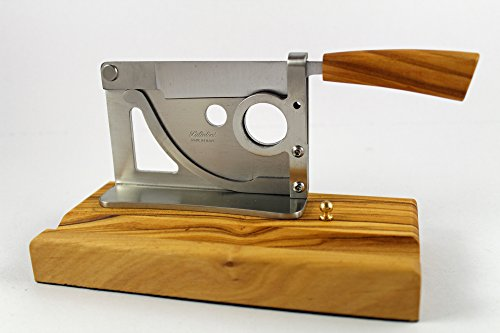 Elegant handmade Italian table-top cigar cutter with olive wood base and handle by Saladini Knives (Image #6)