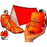 Emergency Sleeping Bag & Tent Shelter, Combo Prepper kit Survival Tent, Includes Bivy Sack Tent, Sleeping Bag, Fire…