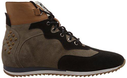 Sneakers In Pelle Da Uomo Grigio E Nero