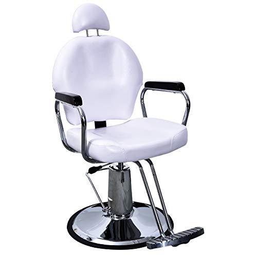 BarberPub Reclining Hydraulic Barber Chair Salon Styling Beauty Spa Shampoo 9838 (White) ()