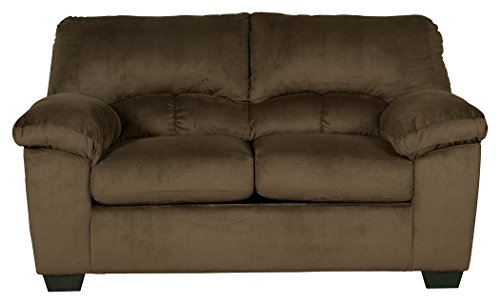 Ashley Funriture Signature Design - Dailey Loveseat - Contemporary Upholstered Couch - Chocolate - Contemporary Upholstered Loveseat