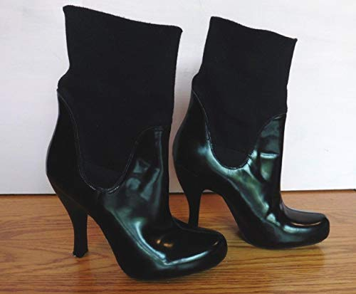 BCBGirl Black Leather Booties high heel boots size 7B slip on sock top CUTE $149