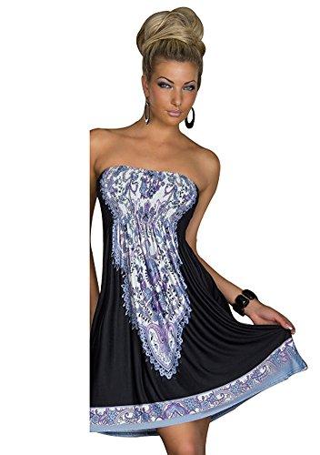 MoYoTo Women's Fashion Beach Wear Tube Top Summer Bikini Swimsuit Cover Up Dress (Black)