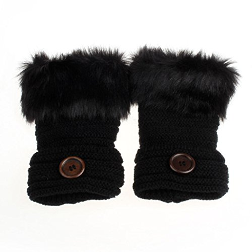 tenworldレディースガールズ冬暖かい人工ウサギファー手首指なし手袋ミトン