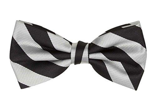 Jacob Alexander Stripe Woven Men's College Striped Pretied Bowtie - Silver Black