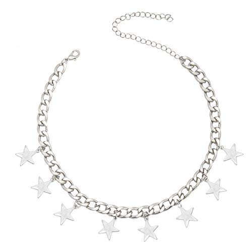 CrazyPiercing Silver Tone Star Necklace, Tassel Star Choker Chain, Boho Statement Necklace Charm Pendants Collar, Dangling Star Curb Link Chain for Women