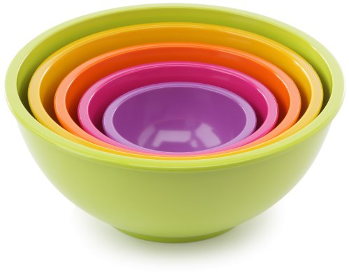 Zak Nesting Bowls - Zak Designs 1703-5130 Set Multicolore de 5 Saladiers Vert / Jaune / Orange / Fuchsia / Lilas