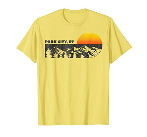 Sunset Yellow T-shirt - Mens Retro Park City Utah Mountain Sunset Winter T-Shirt XL Lemon