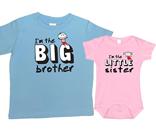 Twin Print Knit Dress (Person Big Brother Little Sister (1 Blue t-Shirt and 1 Pink Bodysuit), Sizes 2T and 0-3 MO)