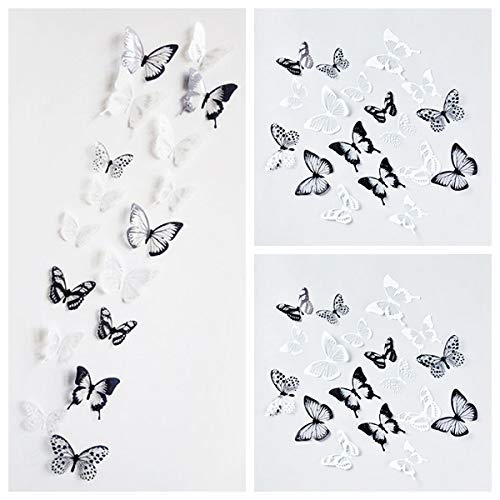 - Letitia Matthew 72 PCS 3D Butterfly Wall Decal Crystal Black and White Wall Stickers DIY Art Decor for Nursery Bedroom Party Decorations Glue Sticker Set, Removable and Waterproof