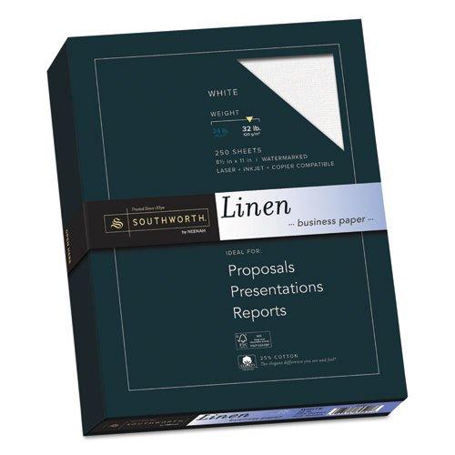 25% Cotton Linen Business Paper, 32lb, 8 1/2 x 11, White, 250 Sheets ()
