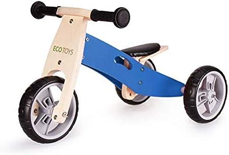 ECOTOYS 2in1 Rosa Holzdreir/äder Blau//Rosa s Lauflernrad//Laufrad aus Holz