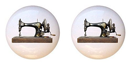 SET OF 2 KNOBS - Vintage Sewing Machine #003 - Crafts Sewing - DECORATIVE Glossy CERAMIC Cupboard Cabinet PULLS Dresser Drawer KNOBS from Farm Fresh Knobs & Pulls