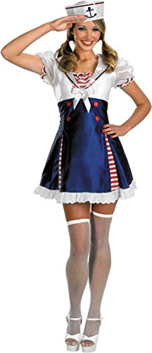 Disguise Unisex Adult Ahoy Matey, Red/White/Blue, Large (12-14) Costume (Ahoy Matey Mens Adult Costume)