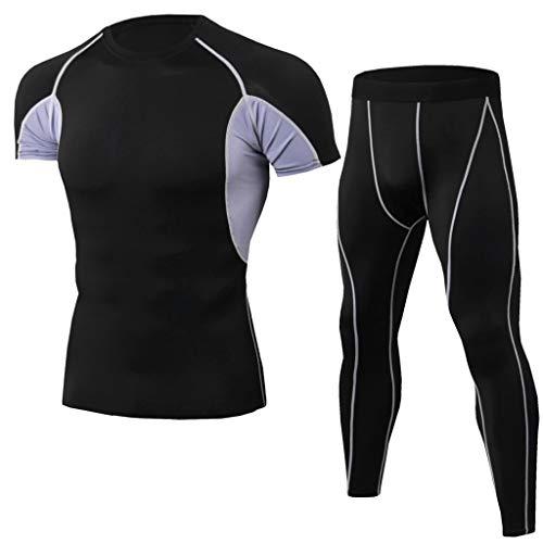 (2019 Shirts Deals ! Men's Elastic Fitness T-Shirt Fast Drying Tops Long Pants Sports Tight Suit)