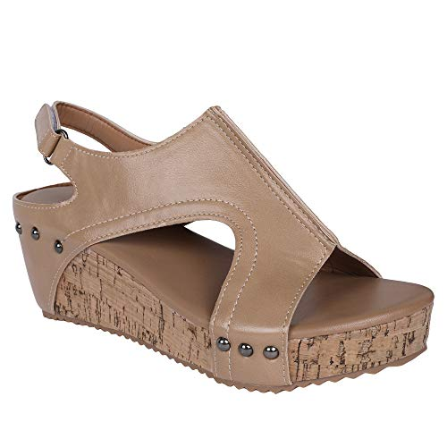 (Syktkmx Womens Cutout Open Toe Platform Wedges Slingback Ankle Strap Cork Heeled Sandals)