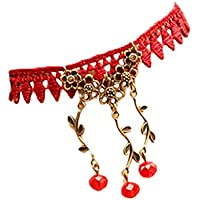 SusenstoneHandmade Women Jewelry Gothic Cherry Lace Ankle Foot Jewelry