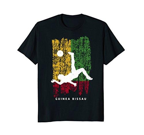 Guinea Bissau Flag T-Shirt Soccer Player Silhouette