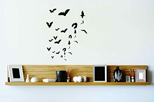 Vampire Bats Flying Vinyl Wall Decal Peel & Stick Graphic Sticker Picture Art Home Halloween Party Decoration Kids Boy Girl Teen Dorm Room Children – 22 Colors Available Reduced Sale (Canada Halloween Sale)