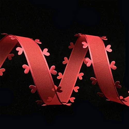 Healifty レースサイドリボン ハート柄 刺繍 DIY クラフト 結婚式 花束 贈り物飾り クリスマス バレンタイン