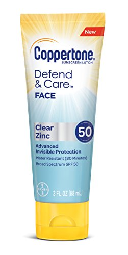 Coppertone Defend & Care Clear Zinc Sunscreen Face Lotion Broad Spectrum SPF 50 (3-Fluid (The Sun Zinc Sunscreen)