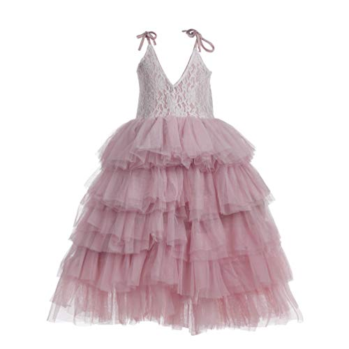 Flower Girl Strap Lace Tiered Tutu Tulle Party Dress Girls Maxi Dresses (Light Pink, 8T)