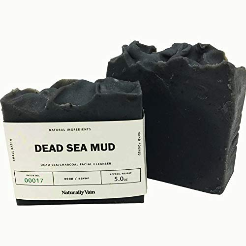 Dead Sea Mud Soap Organic Mineral Activated Charcoal Face And Body Bars Large 5 Ounce ()