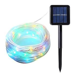 icicle solar rope lights 33ft 100 led. Black Bedroom Furniture Sets. Home Design Ideas