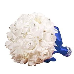Amaping Wedding Bridal Bouquet, Handmade Crystal Ribbon Rhinestone Wedding Bridesmaid Bouquet, Bridal Artificial Flowers for Wedding 54