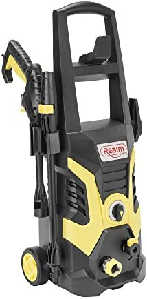 Realm 2100 PSI 1.6 GPM 13 Amp Electric Pressure Washer with Spray Gun,Adjustable Nozzle,Detergent Bottle, Yellow Black