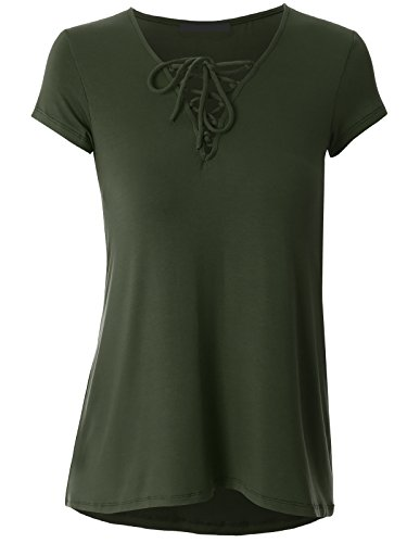 Govc Women Casual Bandage V Neck Short Sleeve Plus Size T-Shirts Summer Tops Tees(Armygreen,XXXL)