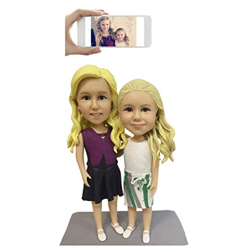 Fully Custom Child Bobblehead Figurine Personalized Gifts Based on Your Photos, Two People, DHL Expedited Shipping Service (Bobble Head Custom 2)