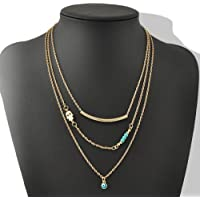 ERAWAN Women Personality 3 Layers Chain Hamsa Fatima Hand Evil Eye Turquoise Necklace EW sakcharn