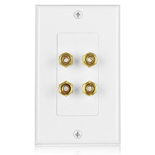 TNP Home Theater Speaker Wall Plate Outlet - 2 Speaker Sound Audio Distribution Panel Gold Plated Copper Banana Plug Binding Post Connector Insert Jack Coupler (2 Pair, Single Gang, White) (Left Theater Cabinet)