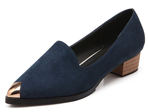 Aisun Womens Comfort Dressy Faux Suede Pointed Toe Wear To Work Block Low Heels Slip On Pumps Shoes Navy Blue R1uYbTf