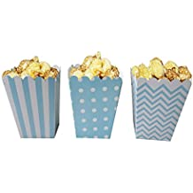Popcorn Boxes, NUIBY Blue Trio (36 Pack) Polka Dot, Chevron, Stripe treat boxes- Small Movie Theater Popcorn Paper bags for Dessert Tables & Wedding Favors
