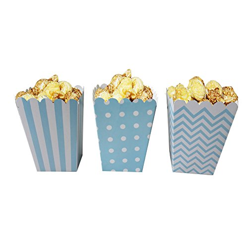 Popcorn Boxes, NUIBY Blue Trio (36 Pack) Polka Dot, Chevron, Stripe treat boxes- Small Movie Theater Popcorn Paper bags for Dessert Tables & Wedding Favors Blue Mini Gift Box