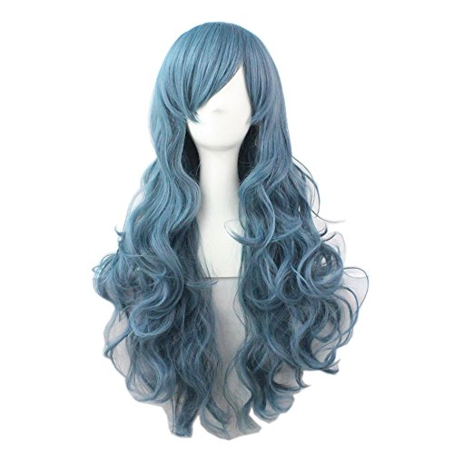 [Girls Fashion Wavy Curly Long Hair Women Cosplay Wig Gray Blue Color] (Blue Wigs For Women)