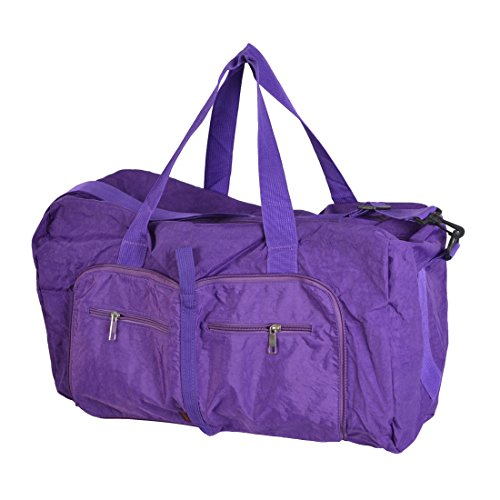 Travel Folding Purple Clothes Storage Hand Bag Holder Pouch 63x45x13cm by uxcell