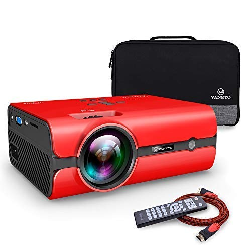 VANKYO Portable Projector, Support HD 1080P, Mini Projector with USB/SD/AV/HDMI/VGA Input. Come with Free Carrying Bag and HDMI Cable (3-Red)