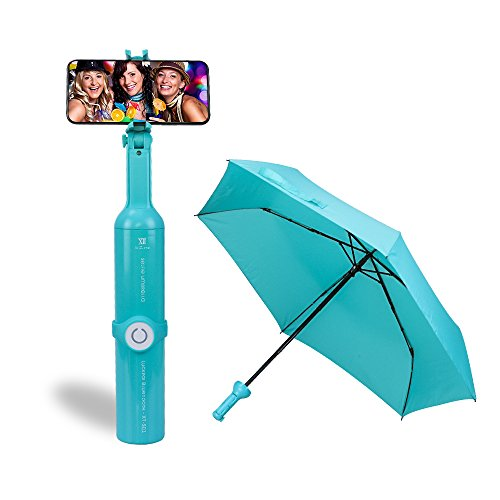MKDMiD 2 in 1 Selfie Stick Umbrella with Bluetooth Remote Shutter Compact Folding Travel Umbrella (Aquamarine)