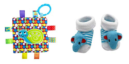 New Cute Baby Elephant Socks & Little Taggie Snail Blanket Theme 2-Pack 3-12 Months w/Gift Box ()