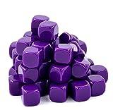 16mm Blank Purple Dice Great For DIY, Board Games, Teaching - 50 Pcs