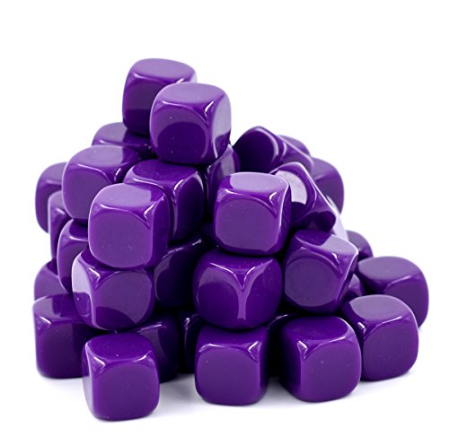 16mm Blank Purple Dice Great For DIY, Board Games, Teaching - 50 Pcs by HD DICE