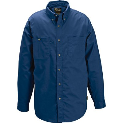 Free Hot Tools (Gravel Gear Wrinkle-Free Long Sleeve Work Shirt with Teflon - Blue, XL)